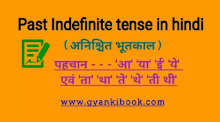 Past Indefinite tense in hindi
