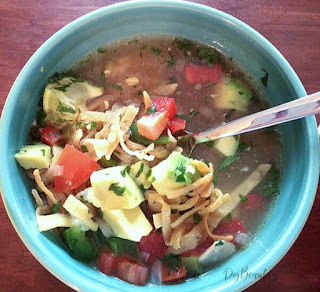 chicken tortilla soup with crunchy tortilla strips