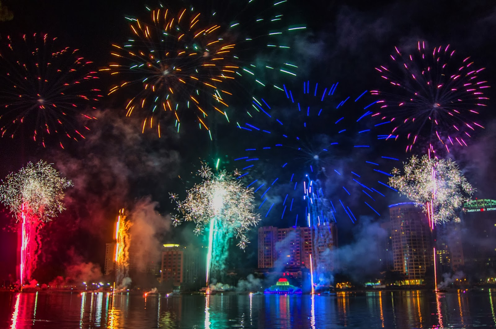 Rainbow Fireworks Celebration Colorful Abstract Image With: Fireworks Over Lake Eola: Come Out With Pride