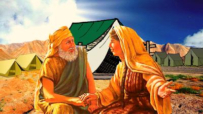 Casal conversando na entrada da tenda