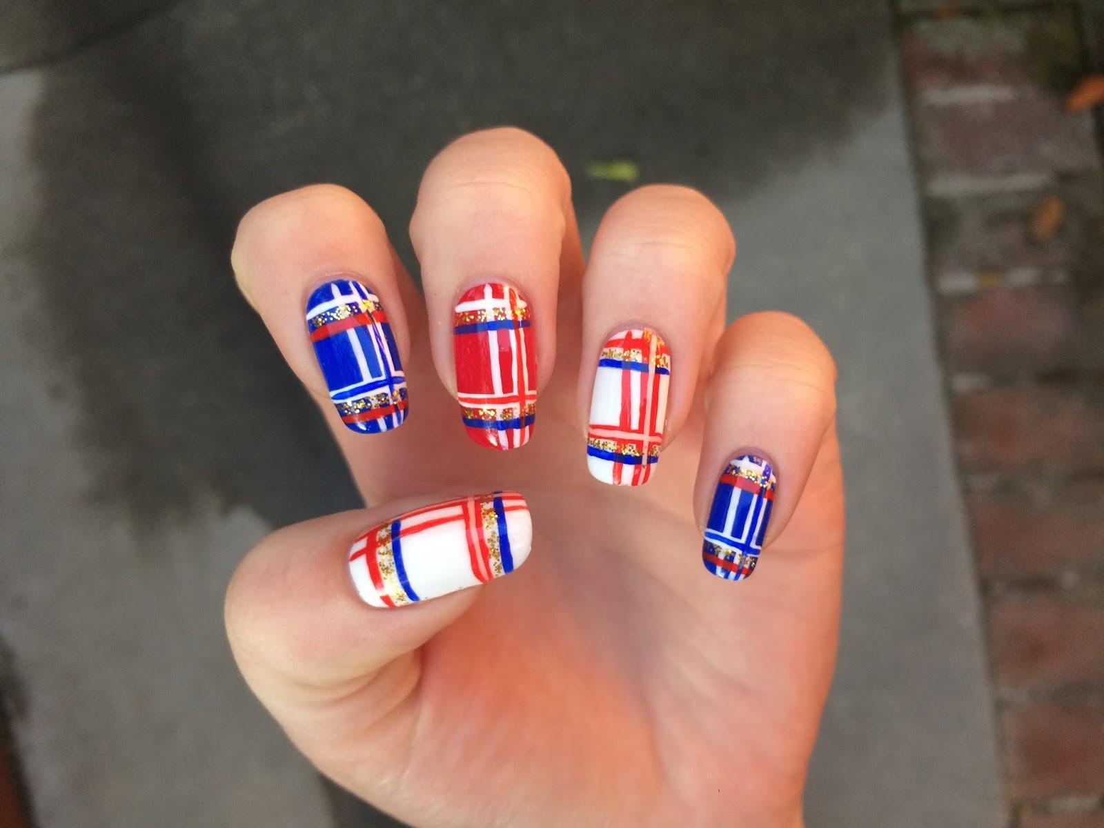 WeeklyWackyNails: Fourth of July Plaid Nail Art