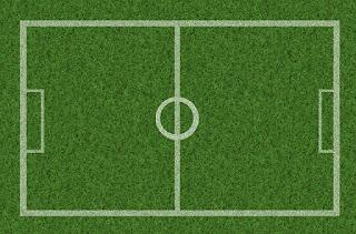 شكل ملعب كرة القدم أرضية خضراء اللون