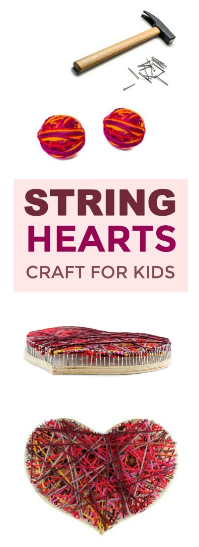 FUN KID PROJECT: Make String Hearts!  A beautiful Valentine's craft for kids!  #heartcrafts #valentinescrafts #craftsforkids