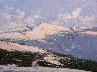 Atardecer en Sierra Nevada, oleo sobre lienzo