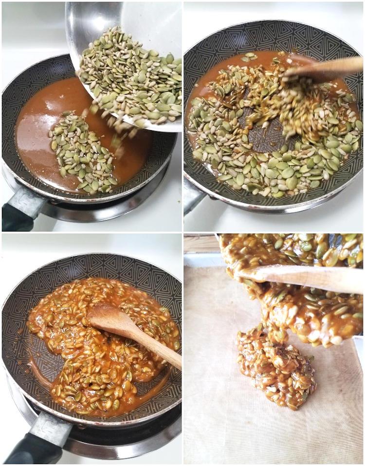 El caramelo se mezcla con las semillas para formar el crocante
