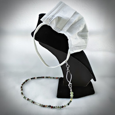 Bloodstone Chain with Wire Ichthus as face mask strap