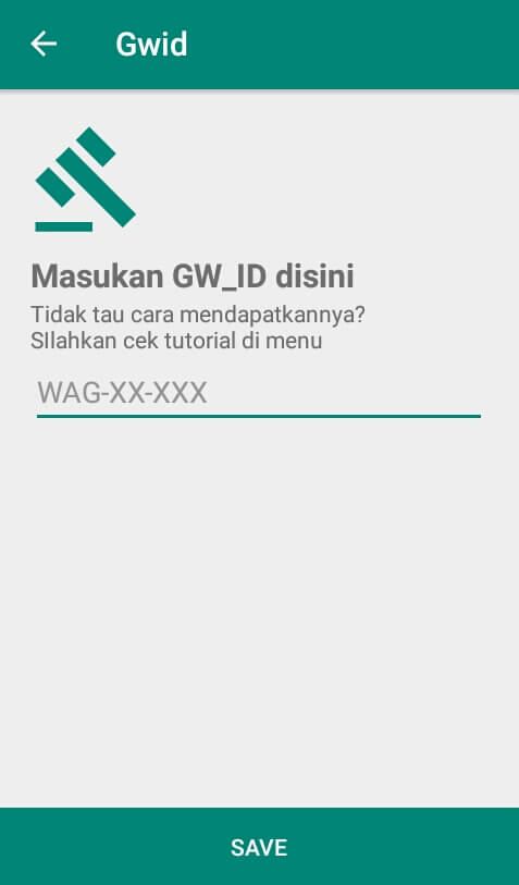 "Silahkan Anda pilih menu ""GWID"" dan isi GWID Anda yang telah Anda catat tadi pada kolom yang telah disediakan kemudian pilih ""Save""."