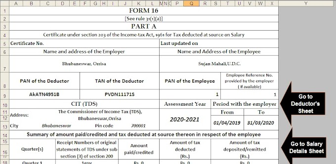 Download and Prepare at a time 100 Employees  Automated Income Tax Form 16 Part A&B For Financial Year 2019-20 & Ass Year 2020-21( Modified Format of Form 16 Part B [ As per the CBDT Notification No.36/2019 Dated 12/04/2019