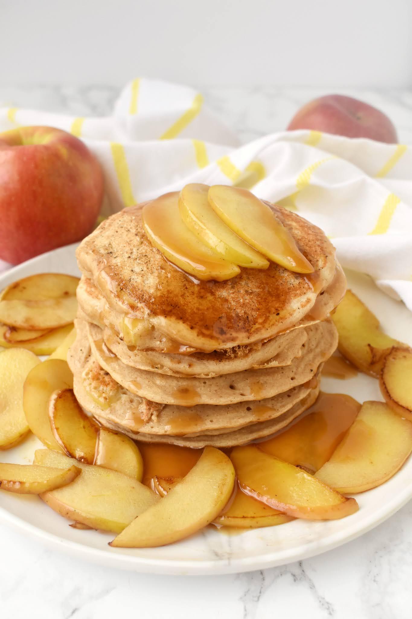 Healthy Caramel Apple Pancakes