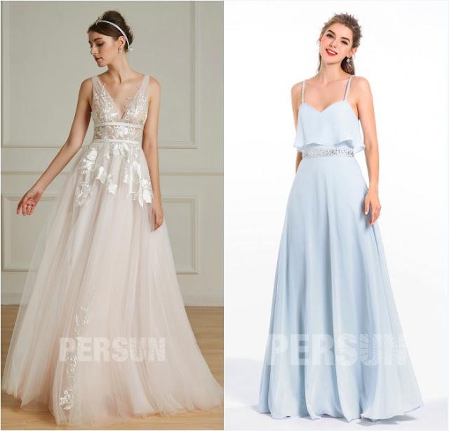 robe de mariée style bohème et robe demoiselle d'honneur fluide