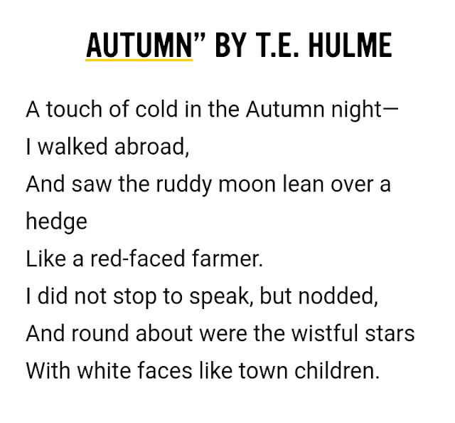 """Autumn"" by T.E. Hulme  - Examples of Free Verse Poem"
