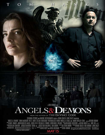Poster Of Angels & Demons 2009 Hindi Dual Audio 650MB Extended Cut BRRip 720p ESubs HEVC Free Download Watch Online downloadhub.in