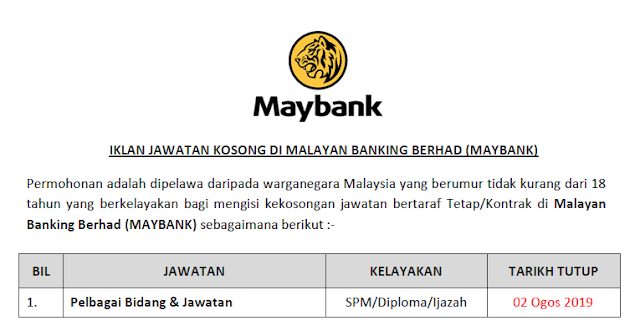 jawatan kosong maybank