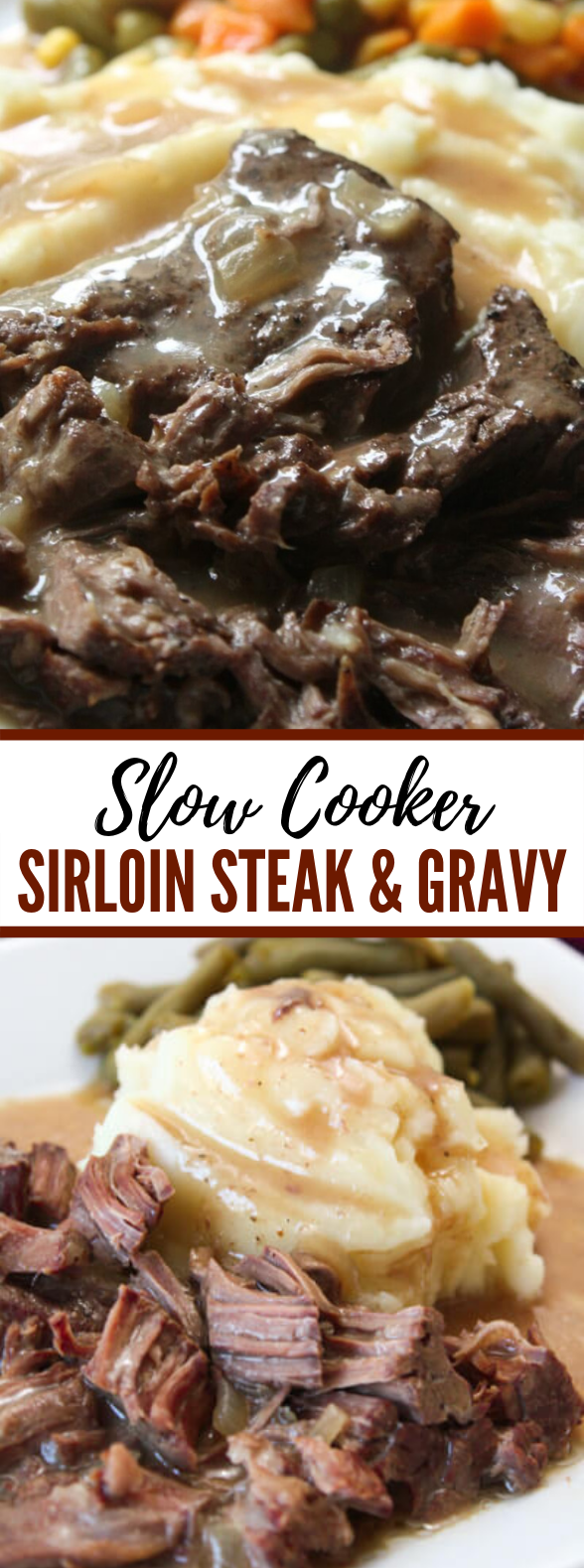 Slow Cooker Sirloin Steak and Gravy Recipe #dinner #comfortfood #slowcooker #crockpot #maindish #steak