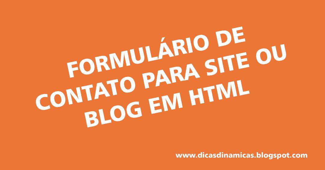 Formulário de contato para site ou blog em HTML