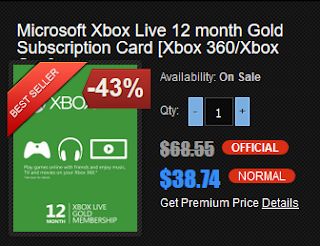 Gamedeal: Xbox LIVE 12 Month Gold Membership
