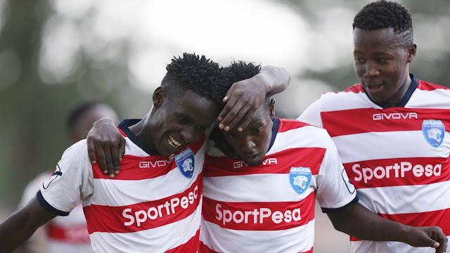 Wachezaji wa AFC Leopards wakisherehekea goli walilofunga kwenye mechi ya ligi kuu KPL. Picha/Kwa hisani