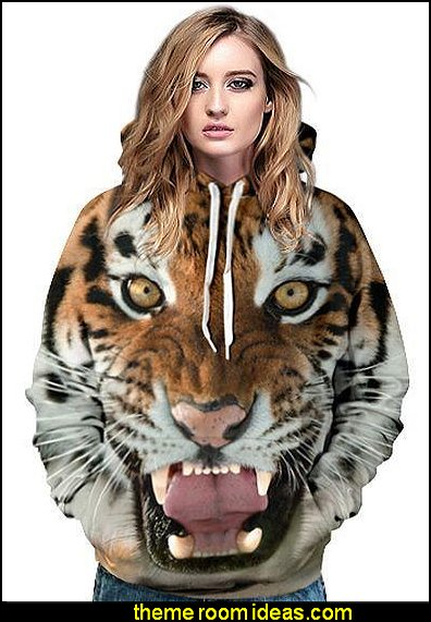 Tiger Face Pattern 3D Painted Hoodie