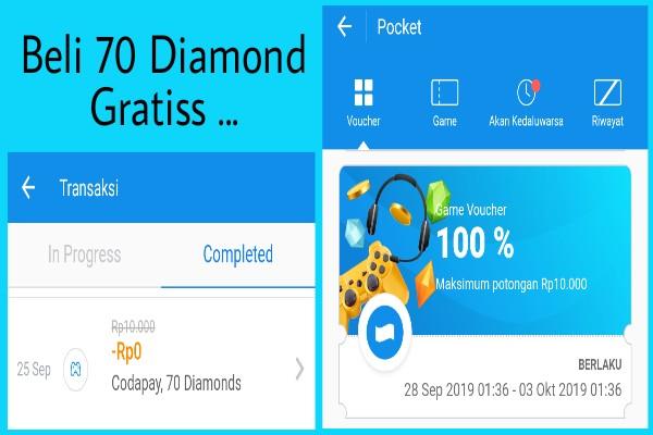 Beli 70 Diamond Free Fire Gratis Pakai DANA