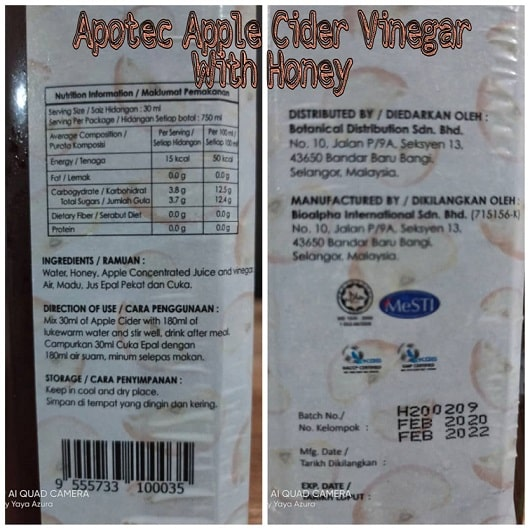 Apotec Apple Cider Vinegar with Honey