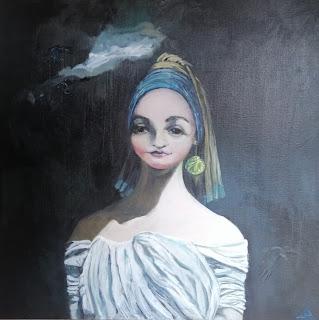 Portrait, Galleriayoellploger, Ayoe, Lise, Lysgaard, Pløger, pigen, perle, kål, rennecaince, øreringen, Menorca pulsar, portrait, woman, landskab, landscape,  paint, galeri, colourful
