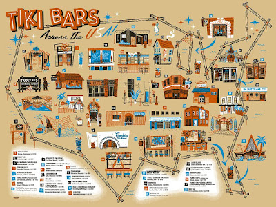 """Tiki Bars Across the USA"" Timed Edition Screen Print by Ian Glaubinger x Gallery 1988"