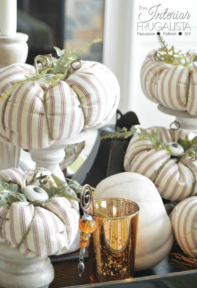 Fall Ticking Fabric Pumpkins