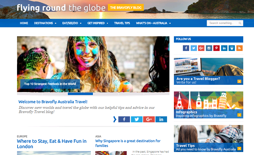 Bravofly travel blog screenshot