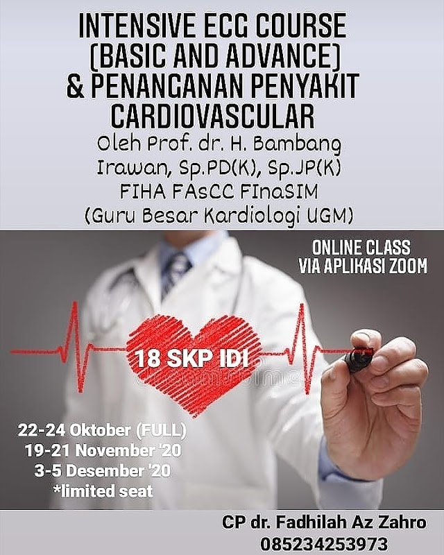 Intensive ECG Course (Basic and Advance) dan Penanganan Penyakit Cardiovascular  Onlie Class via Aplikasi ZOOM