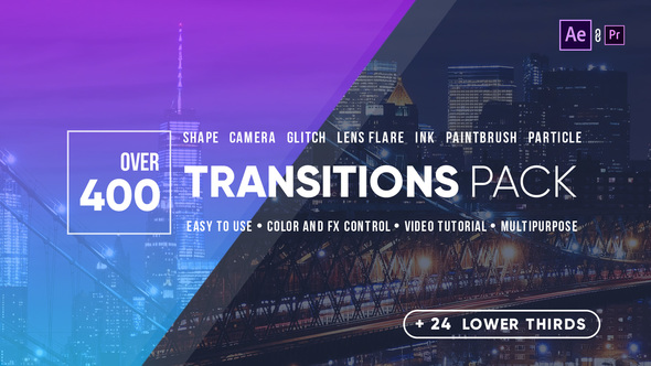 400+ Transitions and 24 Lower Thirds