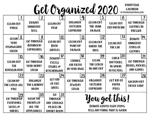Get Organized Perpetual Calendar Checklist Free Printable!