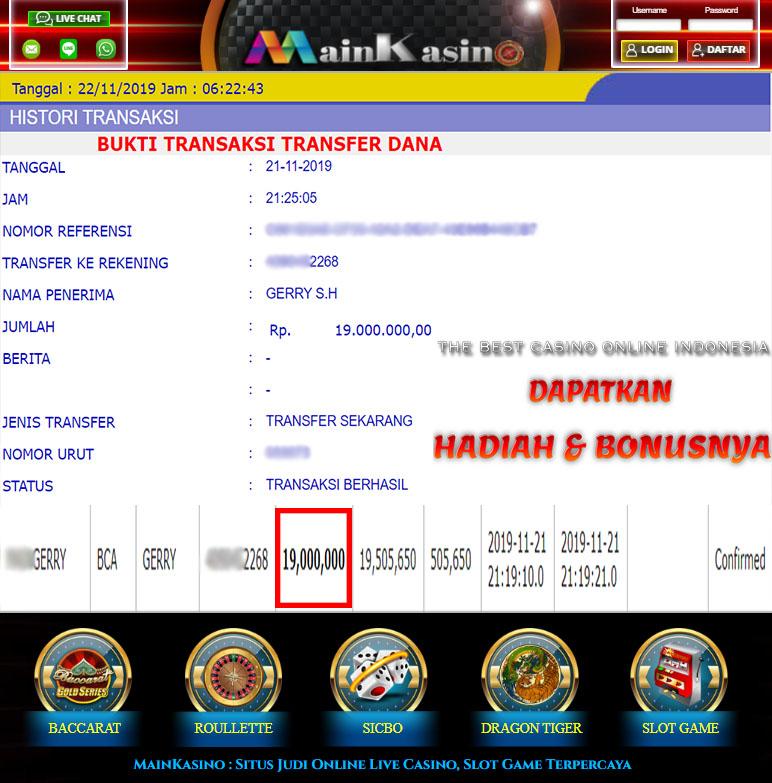 Selamat Kepada Member Setia MAIN KASINO Withdraw RP 19.000.000