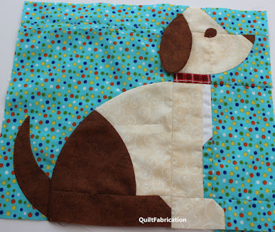 cream and brown dog quilt block