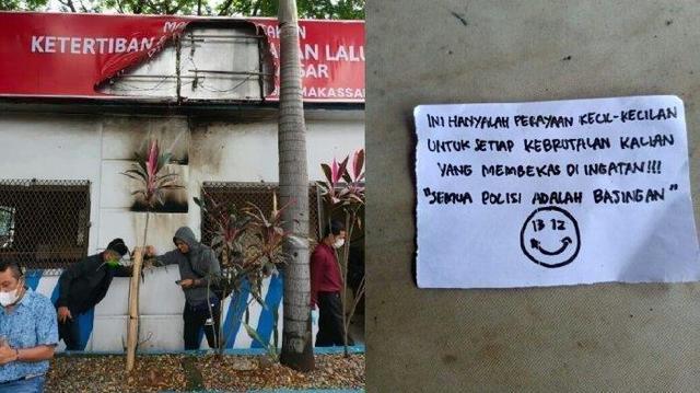 Kirim Pesan 'Semua Polisi Adalah Bajingan', Pos Polantas Dilempari Bom Molotov