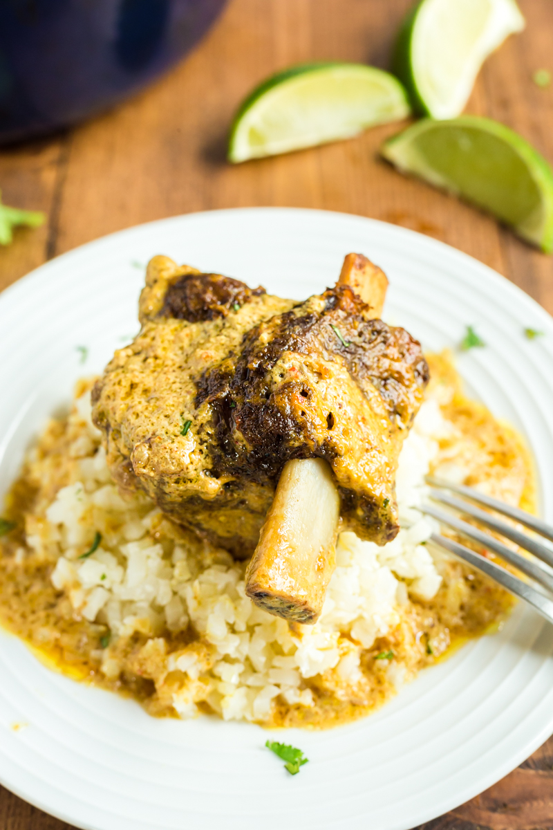 Coconut Curry Beef Short Ribs - These keto-friendly, tender, succulent beef short ribs braised in a creamy coconut curry sauce are the stuff of low carb dreams! #keto #lowcarb #beef #shortribs #indian #curry #coconut #glutenfree | bobbiskozykitchen.com