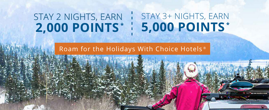 Earn up to 5,000 bonus points for multiple night stays at Choice Hotels