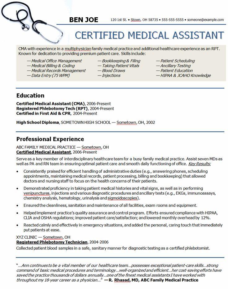 medical assistant job resume samples