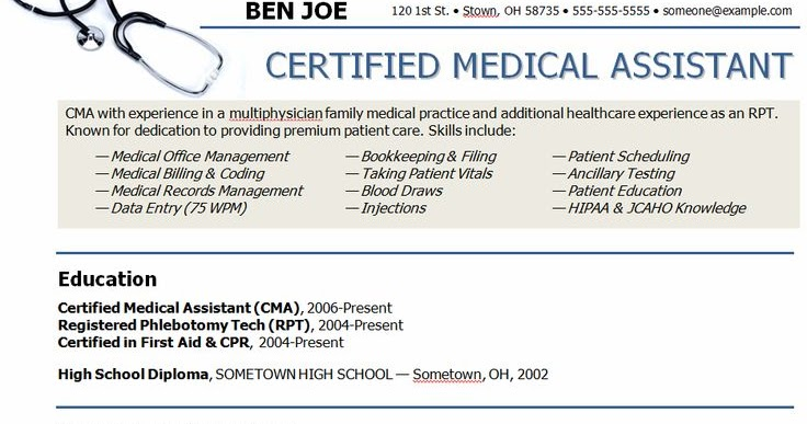 Simple resume for medical assistant