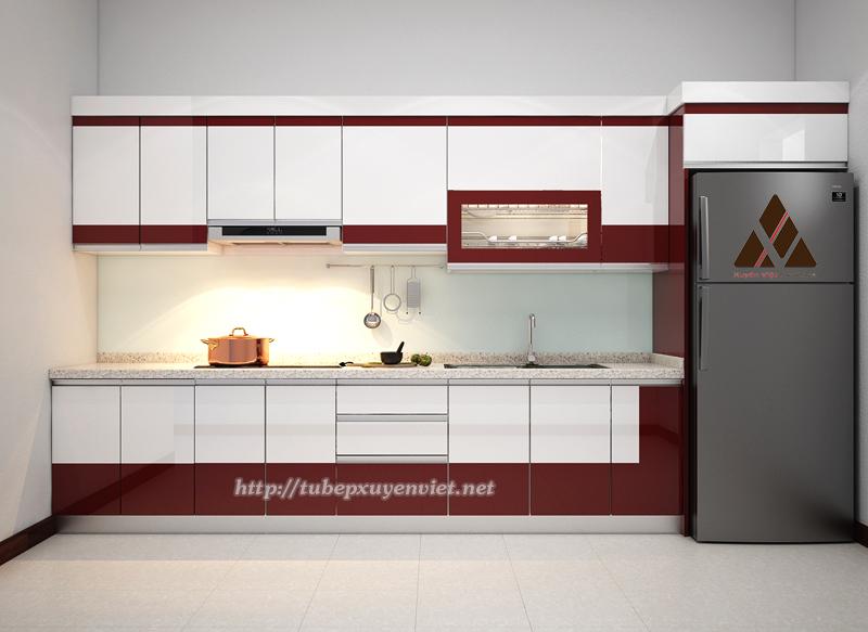 Mẫu tủ bếp chữ i hiện đại phối màu đỏ trắng