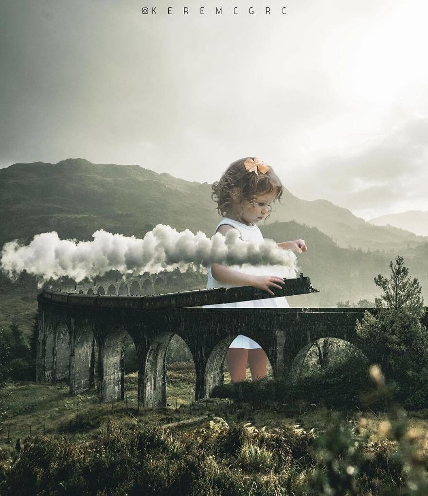 09-A-Child-with-a-Toy-Train-Set-Kerem-Ciğerci-Surrealism-in-Manipulated-Photographs-www-designstack-co