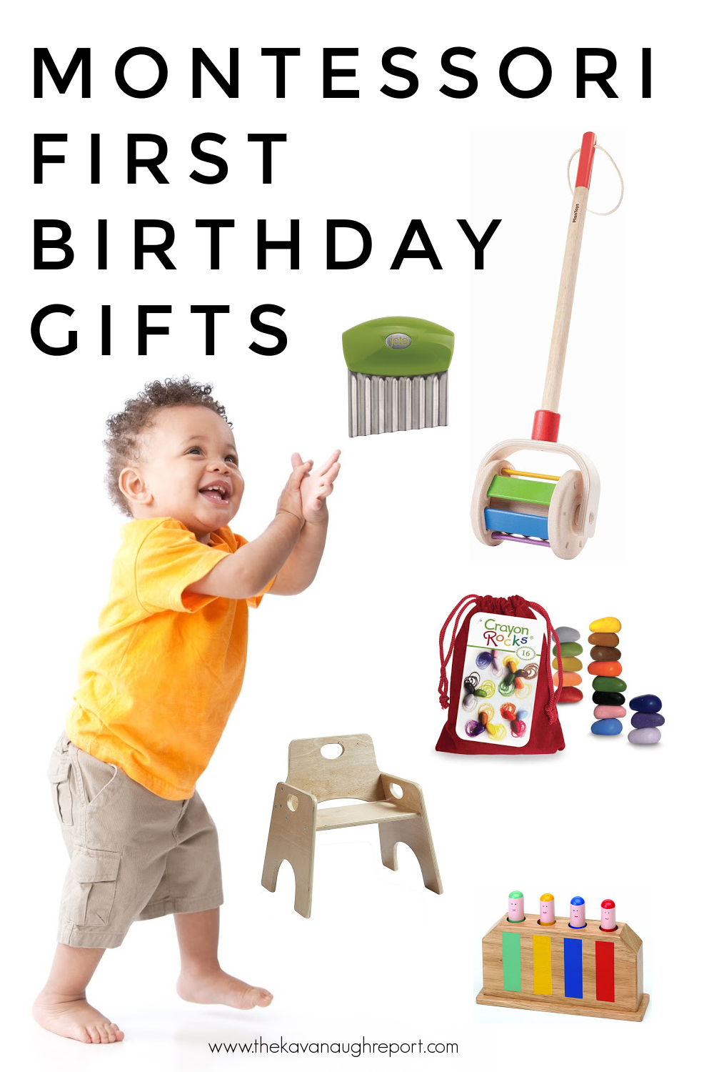 Montessori baby toys for a one year old. These toys and activities are perfect first birthday gifts.