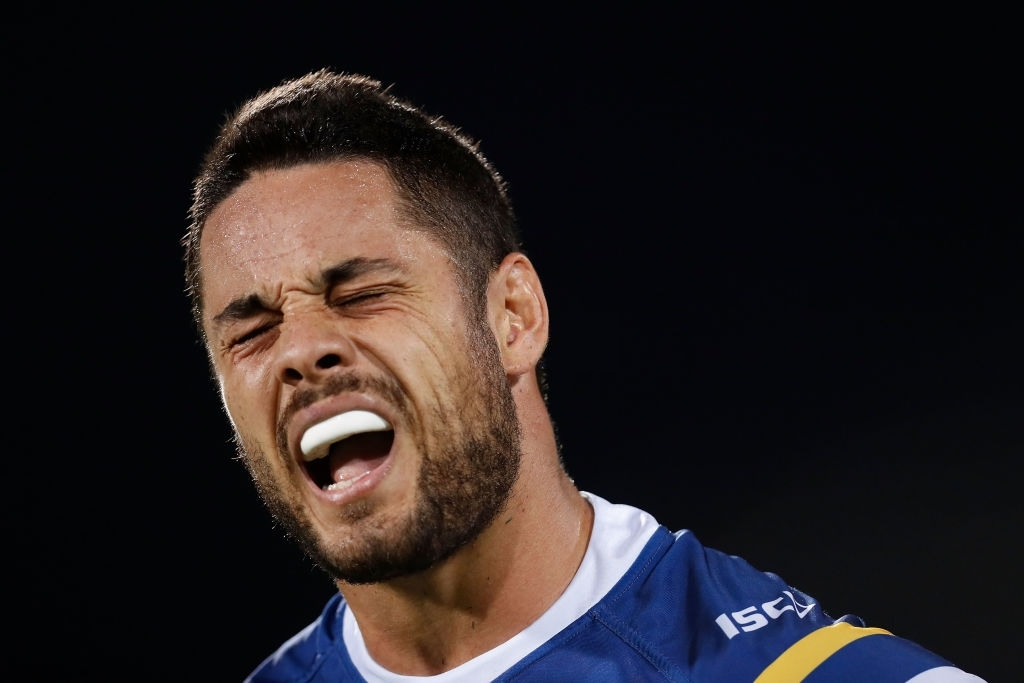 Jarryd Hayne of the Eels reacts during the round 14 NRL match between the Parramatta Eels and the North Queensland Cowboys at TIO Stadium on June 9, 2018 in Darwin, Australia. (Photo by Jason McCawley/Getty Images)