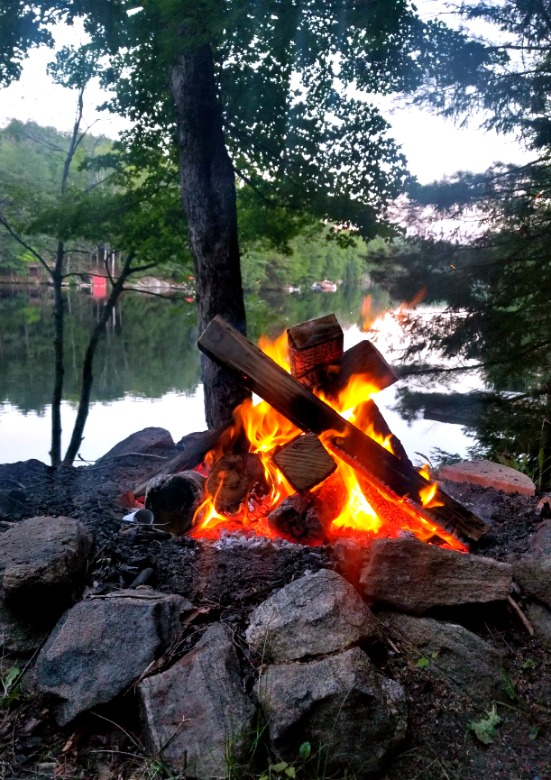 Bonfire at a cottage on Big Orillia Lake