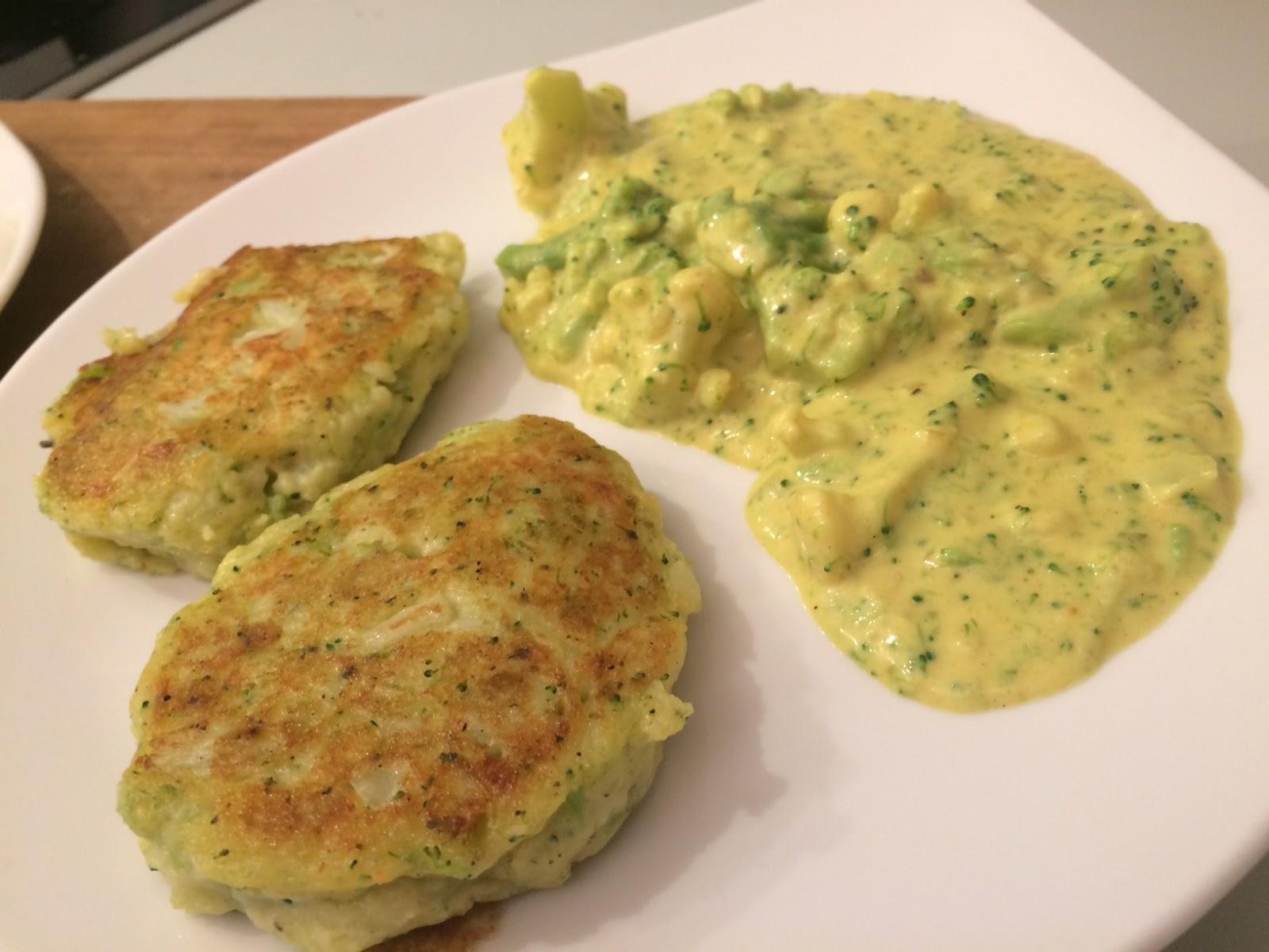 kulinarisches tinobien blumenkohl broccoli bratlinge mit curry rahmgem se. Black Bedroom Furniture Sets. Home Design Ideas