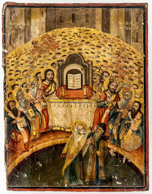 Rare icon of St. Nicholas at the Council of Nicaea and the scene of the slap in the face of Arius