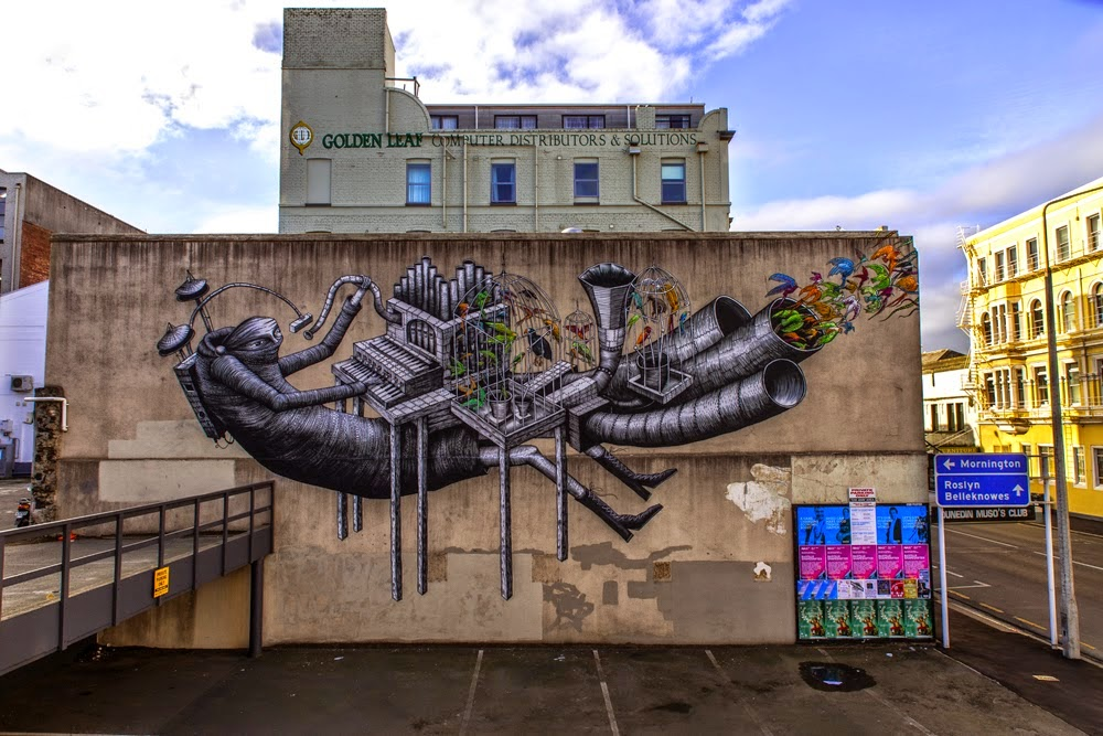 Street Art extraordinaire Phlegm is currently in New Zealand where he was flown over to paint for the Dunedin Urban Art Festival 2014.