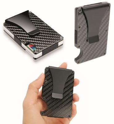 RFID Blocking Metal Wallet: Portable Carbon Fiber Money Holder Case with Clip