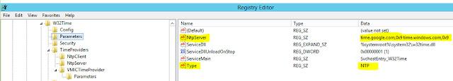 NTP Parameters Registry setting