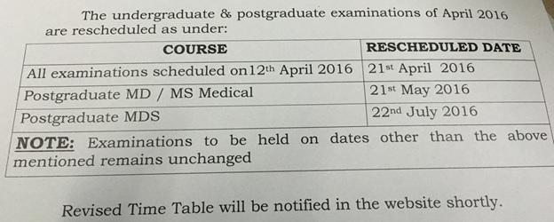 RGUHS Reschedule Exam Date 2016