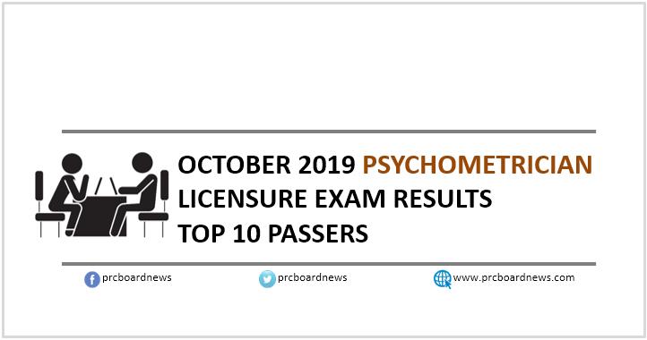 TOP 10 PASSERS: October 2019 Psychometrician board exam result